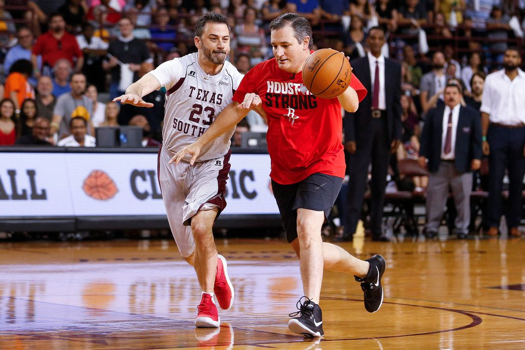 Senator Ted Cruz dribbles past Jimmy Kimmel during the Blobfish Basketball Classic and one-on-one interview.