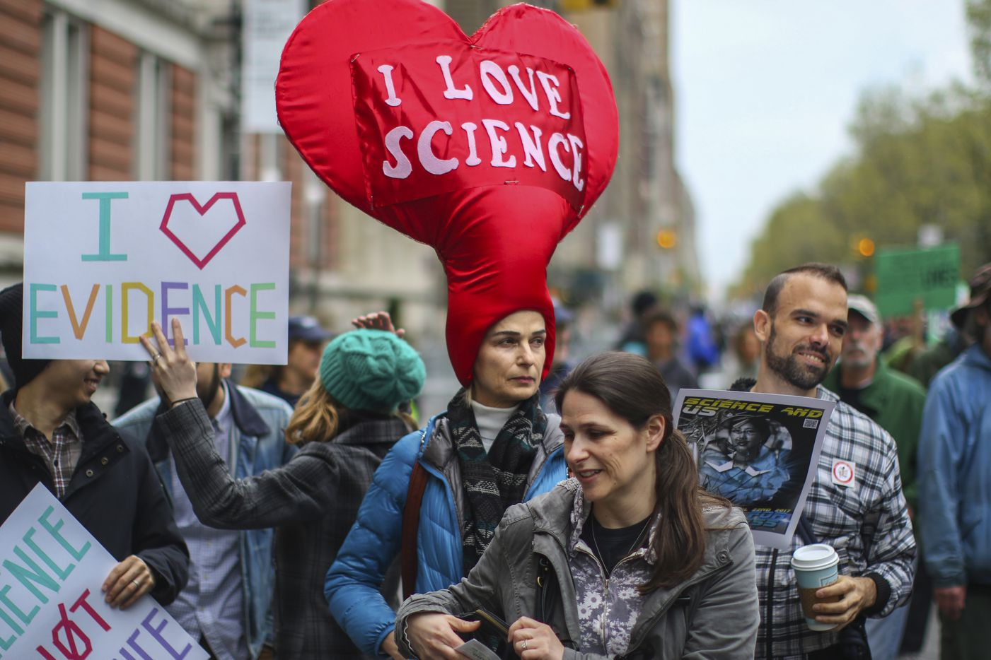 Esti Grifel waits before the March for Science in New York, April 22, 2017. Thousands of scientists and science advocates demonstrated in Washington and in smaller events around the world to support, defend and celebrate the scientific enterprise. (Change W. Lee/The New York Times)