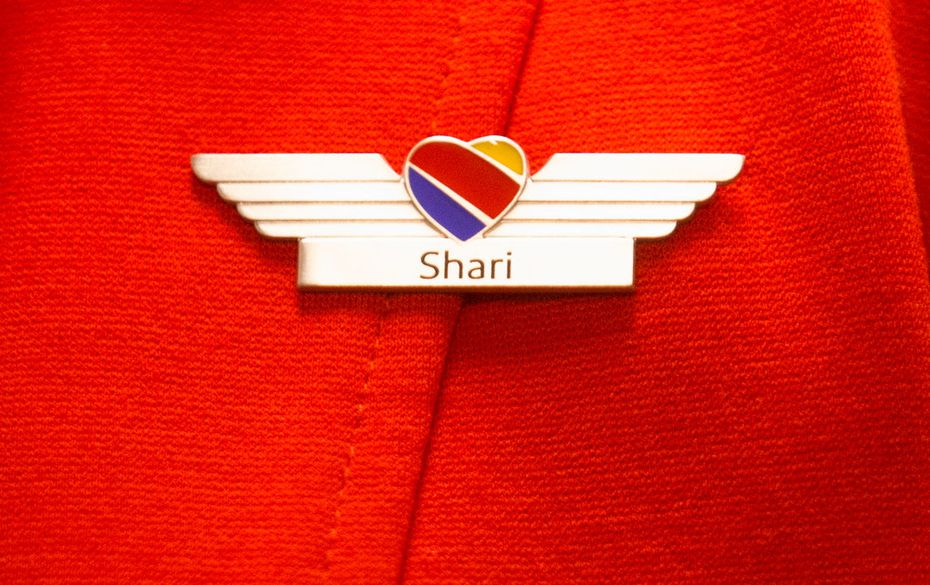 Wings belonging to Shari Rood, Southwest Airlines flight attendant, after she earned them at the Southwest Airlines Training and Operational Support building in Dallas.