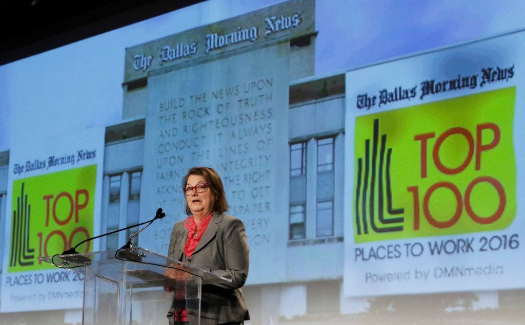 Cheryl Hall speaks at the Dallas Morning News Top 100 Places to Work luncheon at the Dallas Omni Hotel on Friday, November 17, 2016 in Dallas, Texas. (David Woo/The Dallas Morning News)
