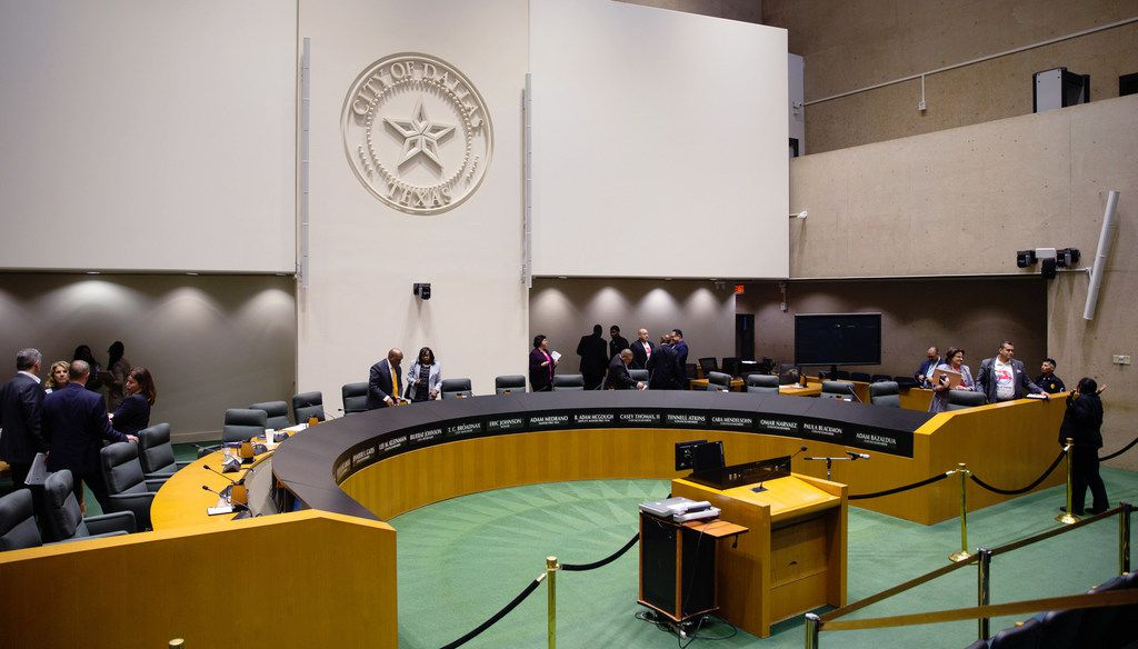 Dallas City Council members adjourn a council meeting at Dallas City Hall in Dallas on June 26, 2019. (Lynda M. Gonzalez/The Dallas Morning News)