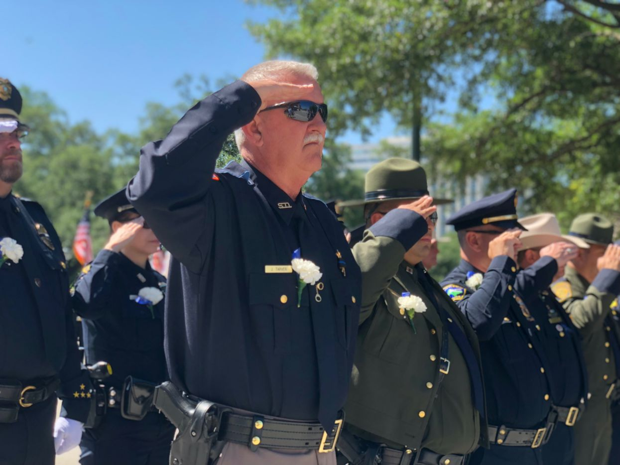 Law enforcement officers gathered in front of the Texas Capitol on Monday, May 7, 2018, in Austin, Texas, to honor those killed in the line of duty.