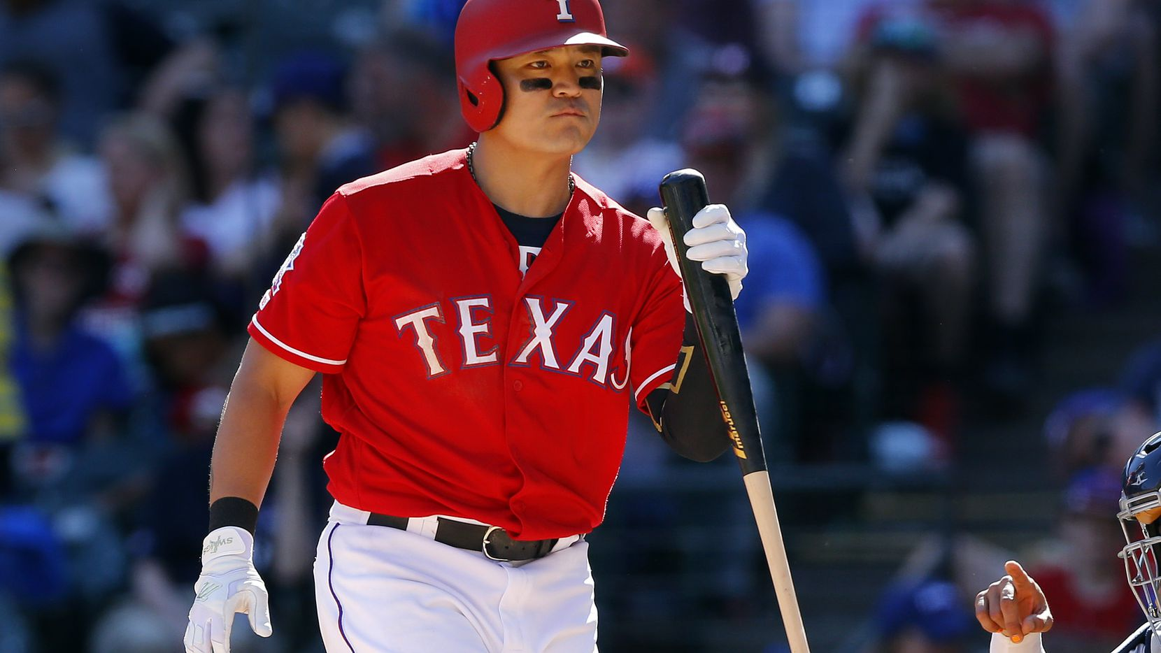 Texas Rangers batter Shin-Soo Choo (17) reacts at the plate as he bats in the eighth inning at Globe Life Park in Arlington, Texas, April 21, 2019. (Tom Fox/The Dallas Morning News)