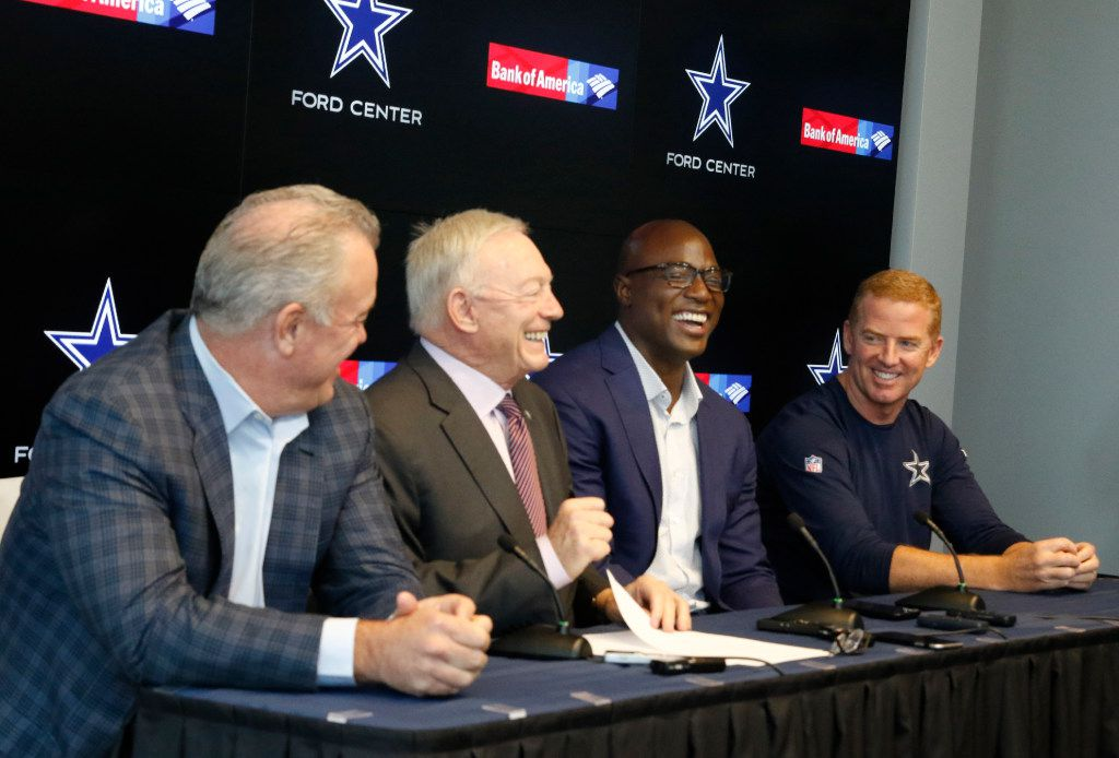 (from left), Dallas Cowboys executive vice president Stephen Jones, Cowboys owner and general manager Jerry Jones, DeMarcus Ware, former Dallas Cowboys outside linebacker and defensive end, signed a one-day contract so he could retire as a Dallas Cowboy, and Dallas Cowboys head coach Jason Garrett address the media during a pre-draft press conference at the Star in Frisco, Texas on Monday, April 24, 2017. (David Woo/The Dallas Morning News)