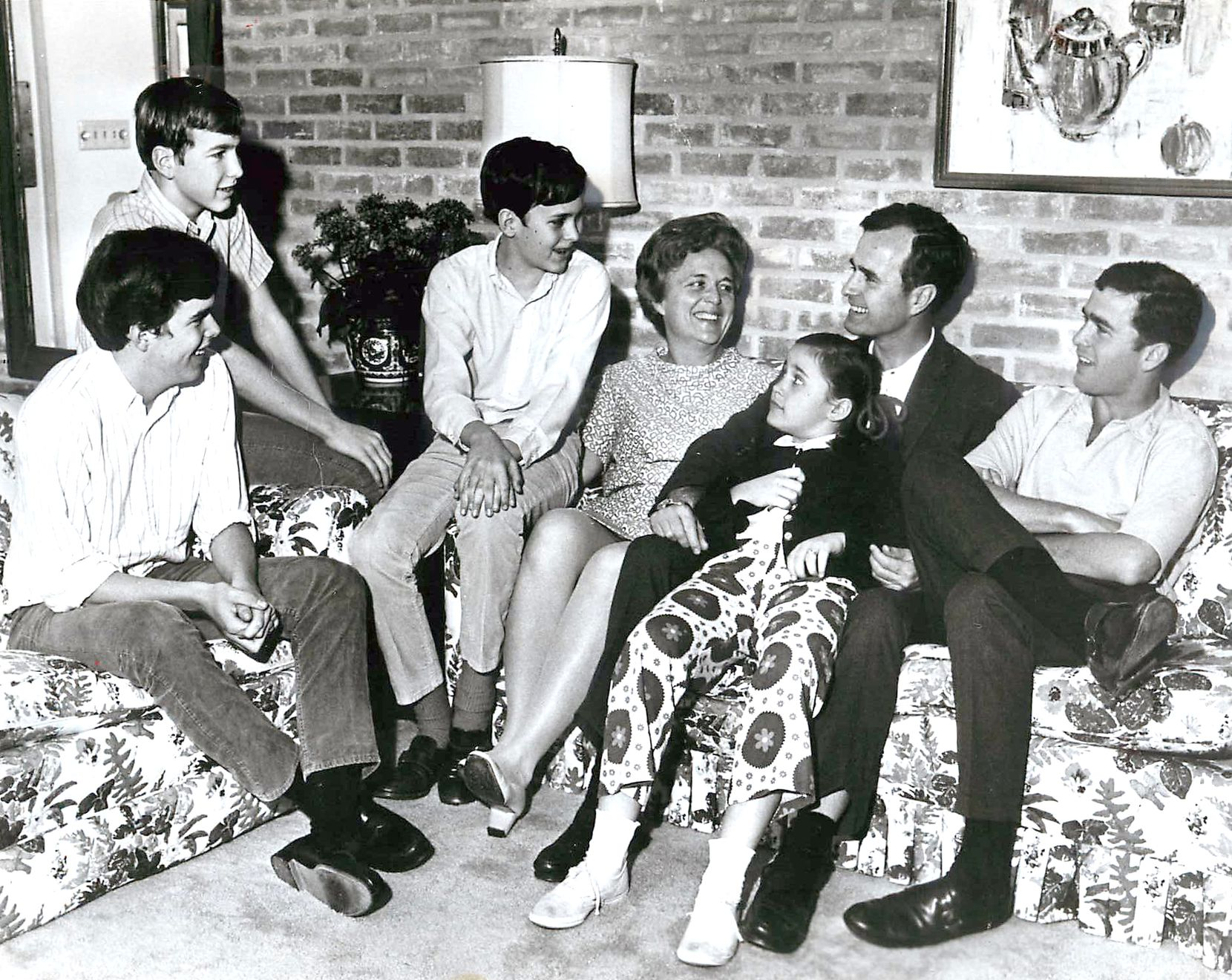 George H.W. Bush is shown with his family in the 1960s.  From left are Jeb, Neil, Marvin, Barbara, Dorothy, George H.W. and George W. Bush.