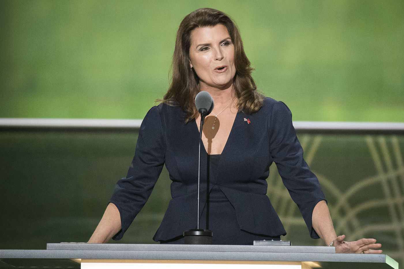 Actor Kimberlin Brown, of The Young and the Restless and The Bold and the Beautiful speaks on the second day of the Republican National Convention.