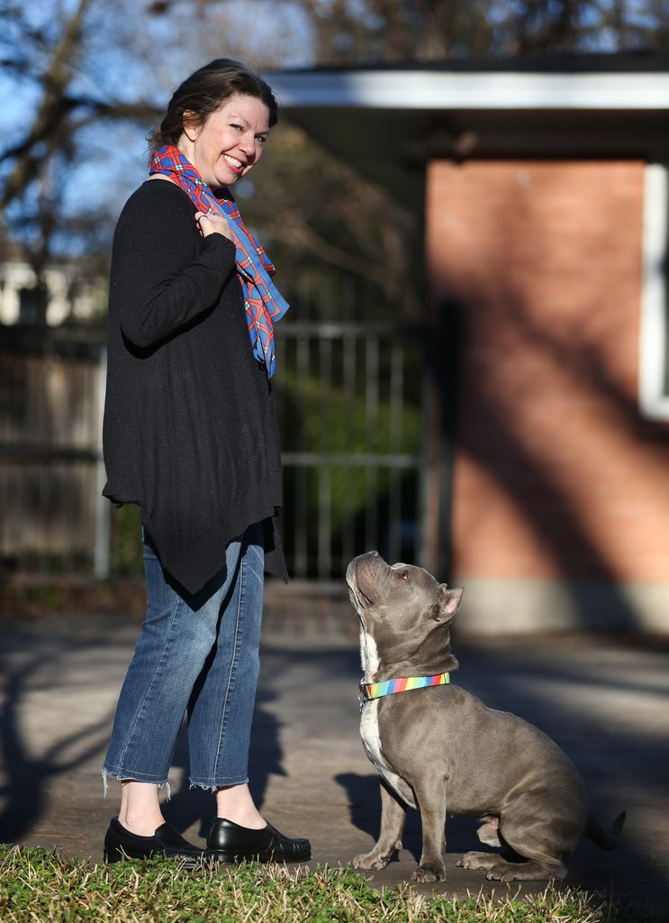 Deborah Rodriguez with her foster dog Hippo, who was rescued in July from a shelter in St. Landry's Parish in Louisiana.