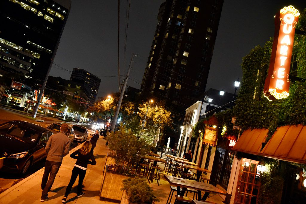 The outside of The Quarter Bar on Uptown's McKinney Avenue, Monday night, Nov. 13, 2017 in Dallas. Uptown's McKinney Avenue may become an overlay district with a late-night curfew. Ben Torres/Special Contributor