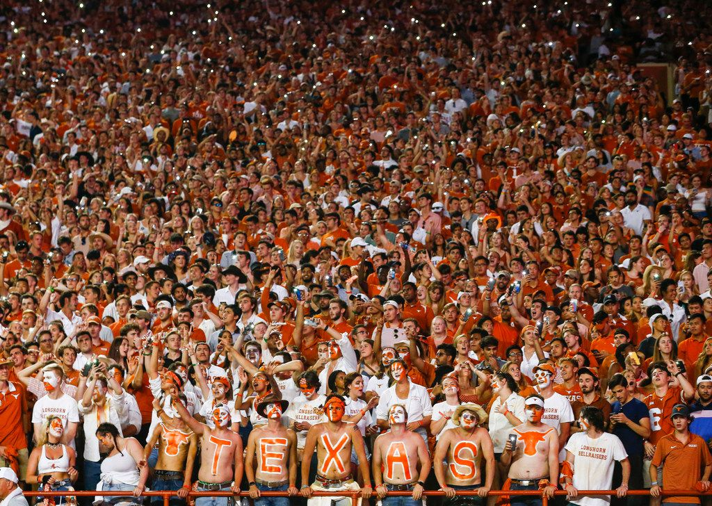 The Texas student section reacts during the fourth quarter of a college football game between the University of Texas and Louisiana State University on Saturday, Sept. 7, 2019 at Darrell Royal Memorial Stadium in Austin, Texas. (Ryan Michalesko/The Dallas Morning News)