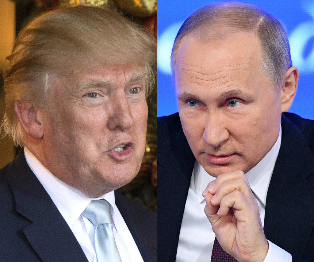 This combination of pictures created on December 30, 2016 shows a file photo taken on December 28, 2016 of US President-elect Donald Trump (L) in Palm Beach, Florida; and a file photo taken on December 23, 2016, of Russian President Vladimir Putin speaking in Moscow. AFP PHOTO / DON EMMERT AND Natalia KOLESNIKOVADON
