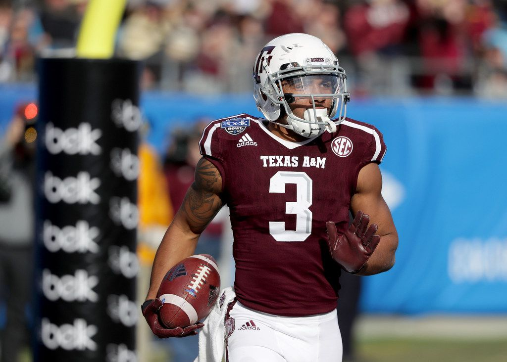CHARLOTTE, NC - DECEMBER 29:  Christian Kirk #3 of the Texas A&M Aggies catches a touchdown against the Wake Forest Demon Deacons during the Belk Bowl at Bank of America Stadium on December 29, 2017 in Charlotte, North Carolina.  (Photo by Streeter Lecka/Getty Images)