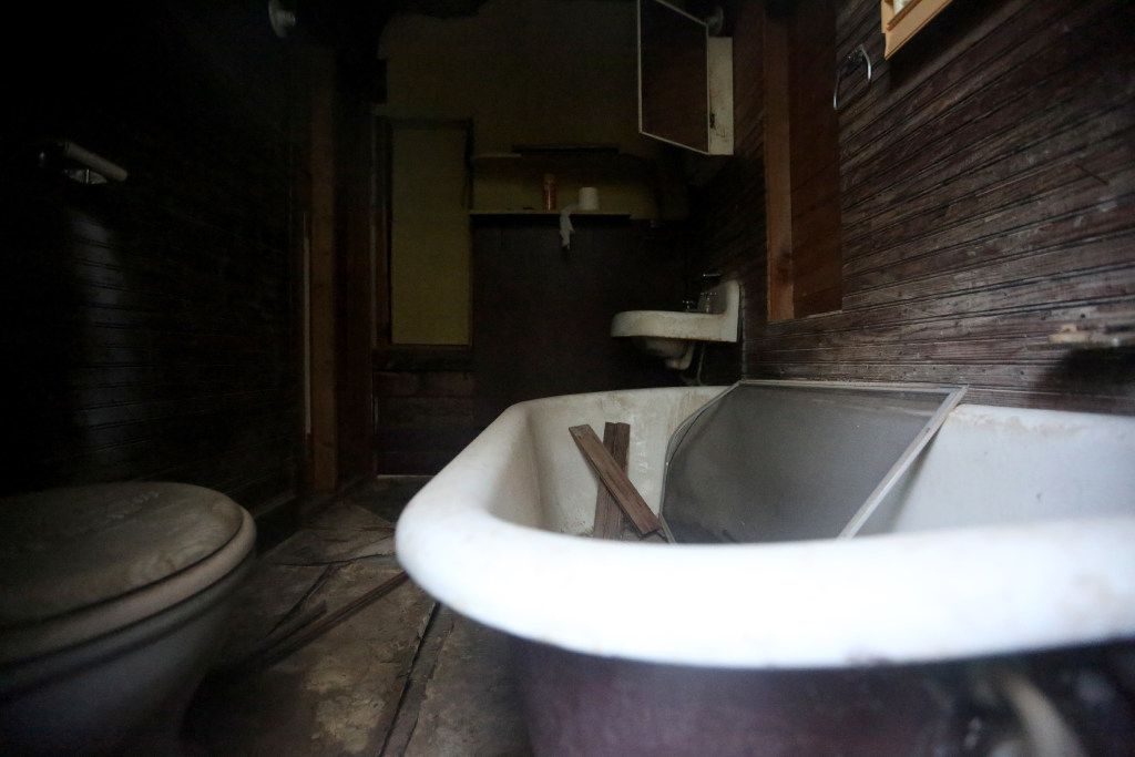 A bathroom that has been completely sheet rocked inside the Haunted Hill House in Mineral Wells, Texas on Friday, May 12, 2017. (Rose Baca/The Dallas Morning News)