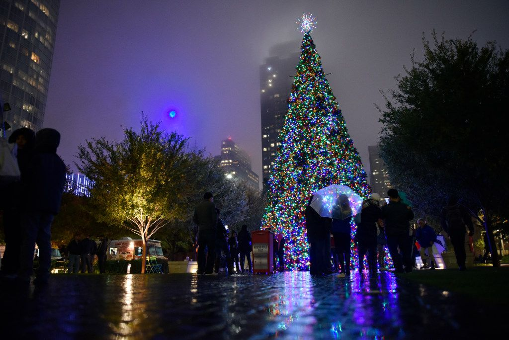 The Klyde Warren Park Christmas tree lighting ceremony, on Dec. 3, 2016 in downtown Dallas. The Christmas event had a visit from Santa and Mrs. Claus, a toy soldier stilt walker and plenty of selfie opportunities with the KWP Christmas tree.