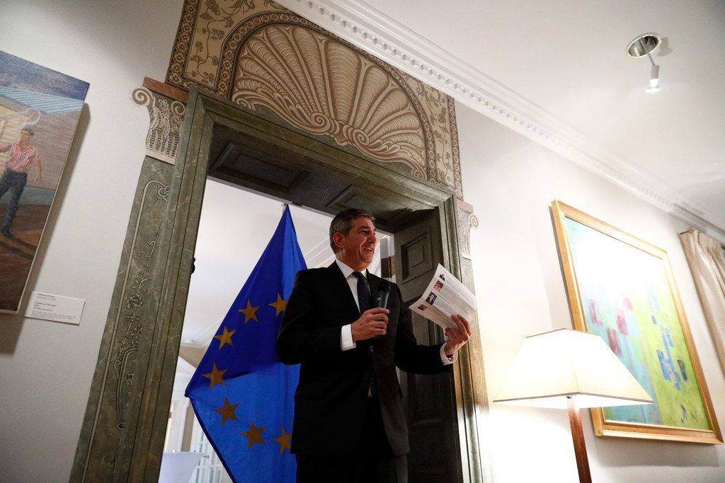 """European Union Ambassador to the U.S. Stavros Lambrinidis has taken the unusual approach of displaying art from the tiny San Angelo Museum of Fine Arts in his official D.C. residence. """"I never wanted to look at this house as a mirror in which to look at myself, but as a window in which to look at the United States,"""" he said."""