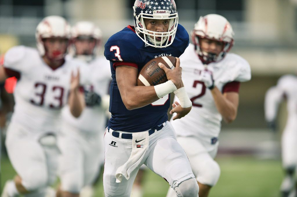 Denton Ryan sophomore quarterback Spencer Sanders (3) breaks free on the way to  touchdown against Keller Central, Friday, September 25, 2015, at C.H. Collins Athletic Complex in Denton.