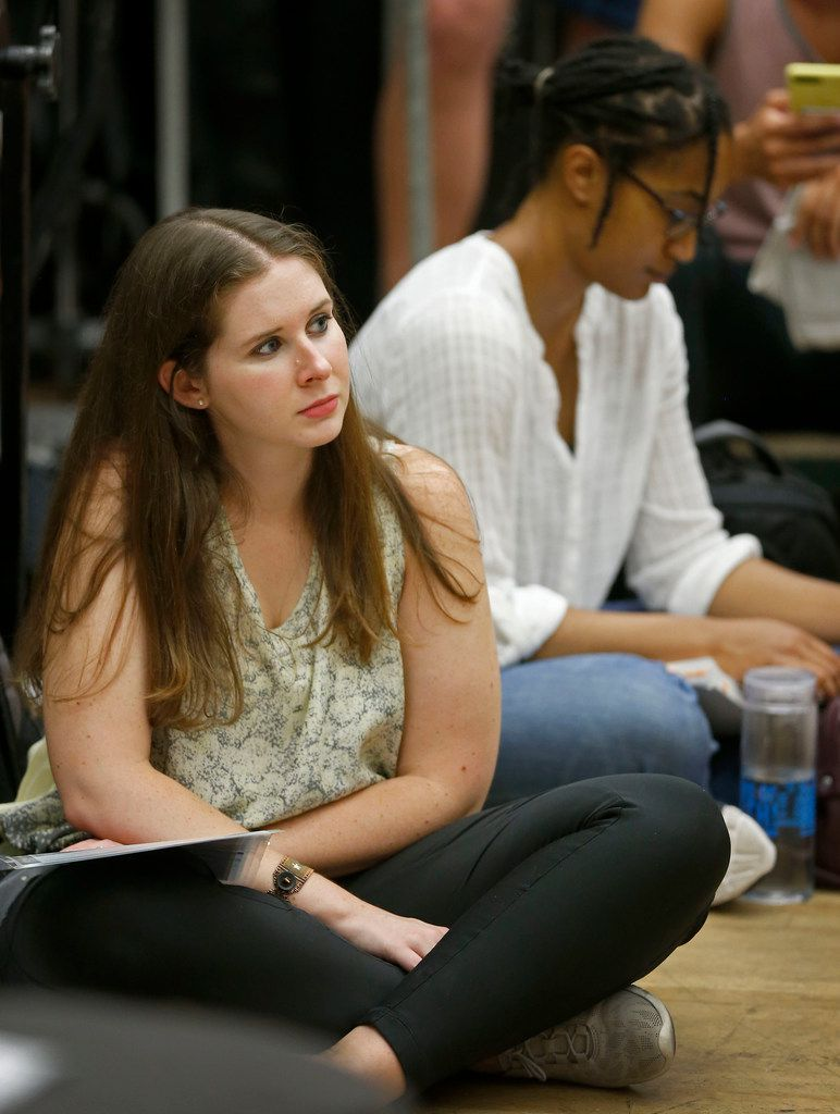 Jackie Malish, left, watches actors during a rehearsal of 'Guys and Dolls' at SMU. Malish will play one of the Salvation Army officers in this show, presented by Lyric Stage, a professional local musical theater company that has started a new partnership with SMU. The show will be at the Majestic Theatre in Dallas June 8-10.