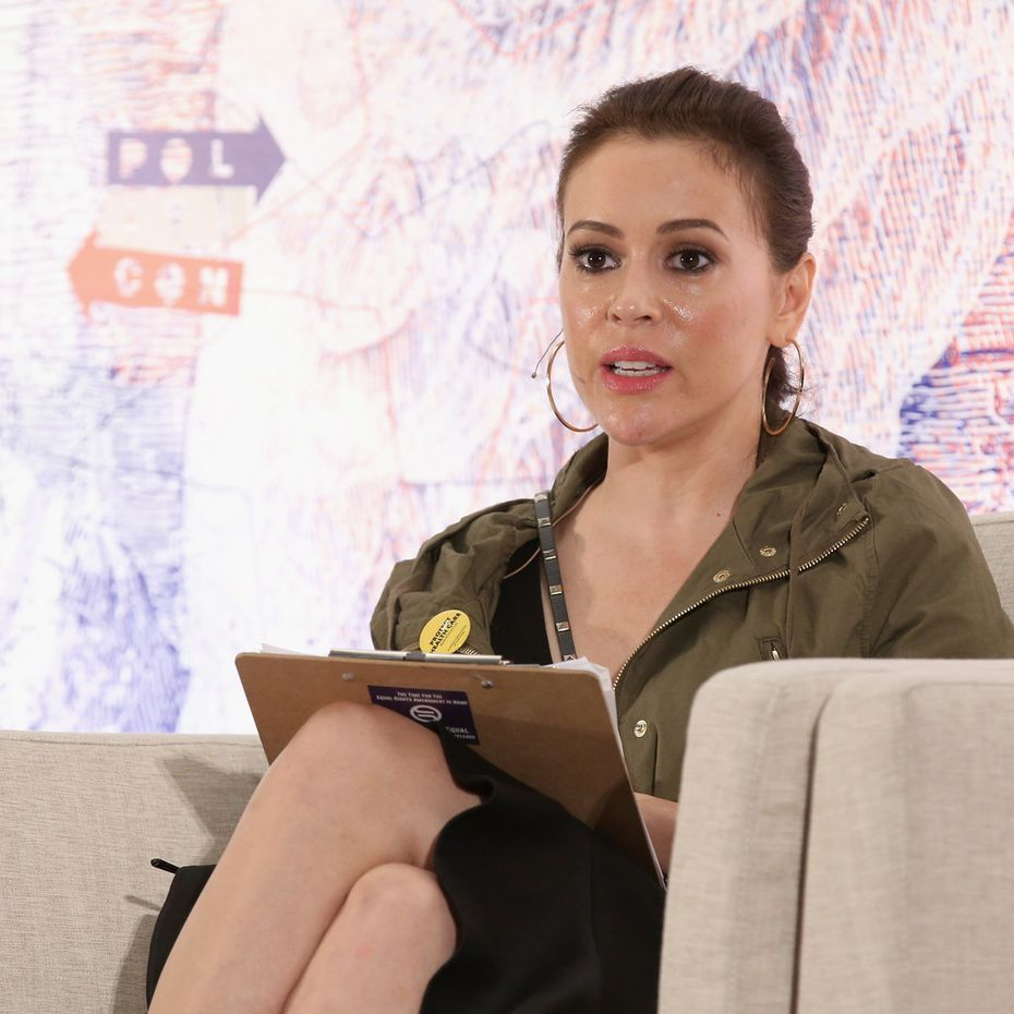 Alyssa Milano speaks onstage during Politicon 2018 at the Los Angeles Convention Center on October 21, 2018.