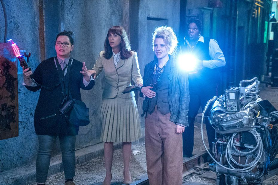 (L-r) Abby (Melissa McCarthy), Erin (Kristen Wiig), Holtzmann (Kate McKinnon) and Patty (Leslie Jones).