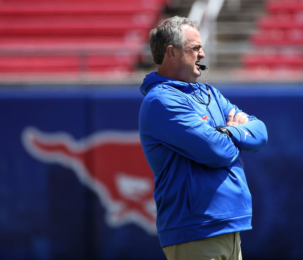 Southern Methodist Mustangs head coach Sonny Dykes watches a play during Southern Methodist Mustangs's spring game at Gerald J. Ford Stadium on Saturday, April 14, 2018. (Rose Baca/The Dallas Morning News)