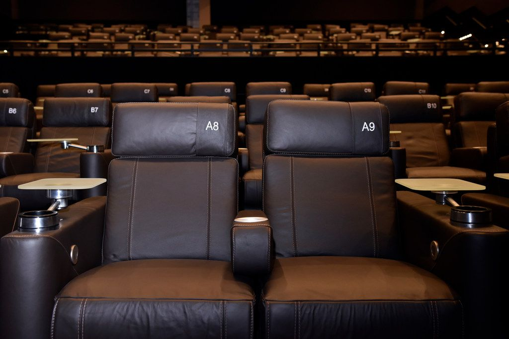 The luxury reclining seats inside one of the theaters at the new Cinepolis theater in Victory Park Dallas on June 29.
