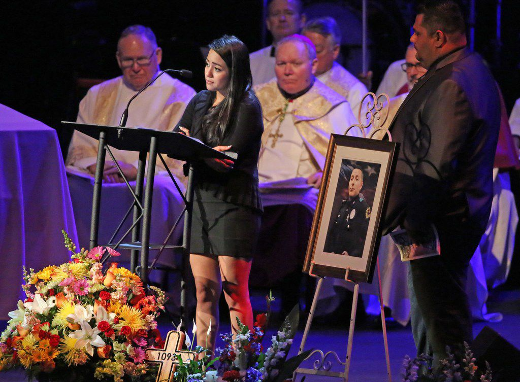 """A man like you was rare,"" said Jennifer Rivera, girlfriend of slain Dallas police Officer Rogelio Santander, during his funeral Tuesday at Lake Pointe Church in Rockwall."