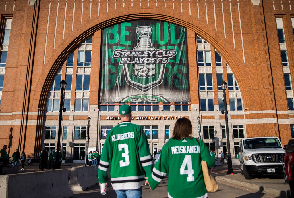 Stanley Cup Playoffs signs are displayed outside of American Airlines Center before Game 3 of a playoff series between the Dallas Stars and the Nashville Predators on Monday, April 15, 2019 in Dallas. (Ashley Landis/The Dallas Morning News)