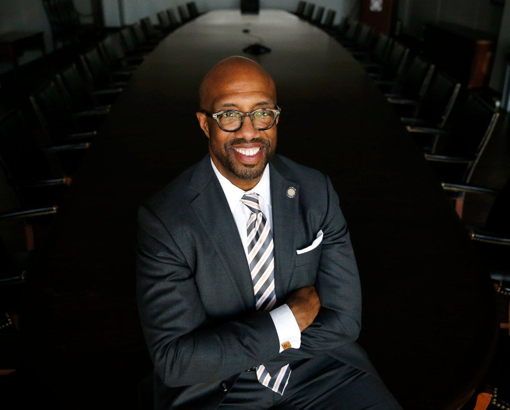 Michael Sorrell, president of Paul Quinn College, poses for a portrait in a conference room at the college in Dallas.