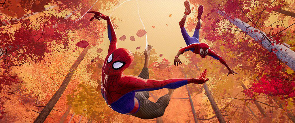 Jake Johnson and Shameik Moore in Spider-Man: Into the Spider-Verse