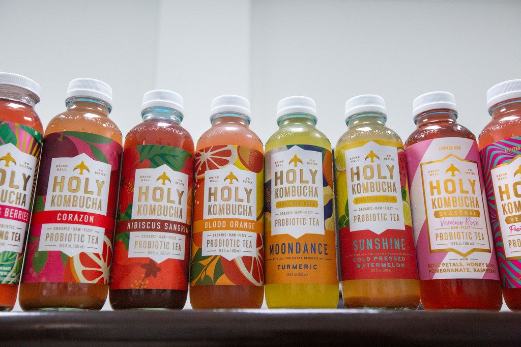 An array of locally brewed Holy Kombucha flavors are featured at the brand's facility in Dallas.