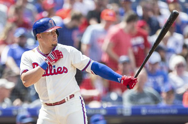 Philadelphia Phillies' Asdrubal Cabrera (13) in action during a baseball game against the Chicago Cubs, Sunday, Sept. 2, 2018, in Philadelphia. The Cubs won 8-1. (AP Photo/Laurence Kesterson)