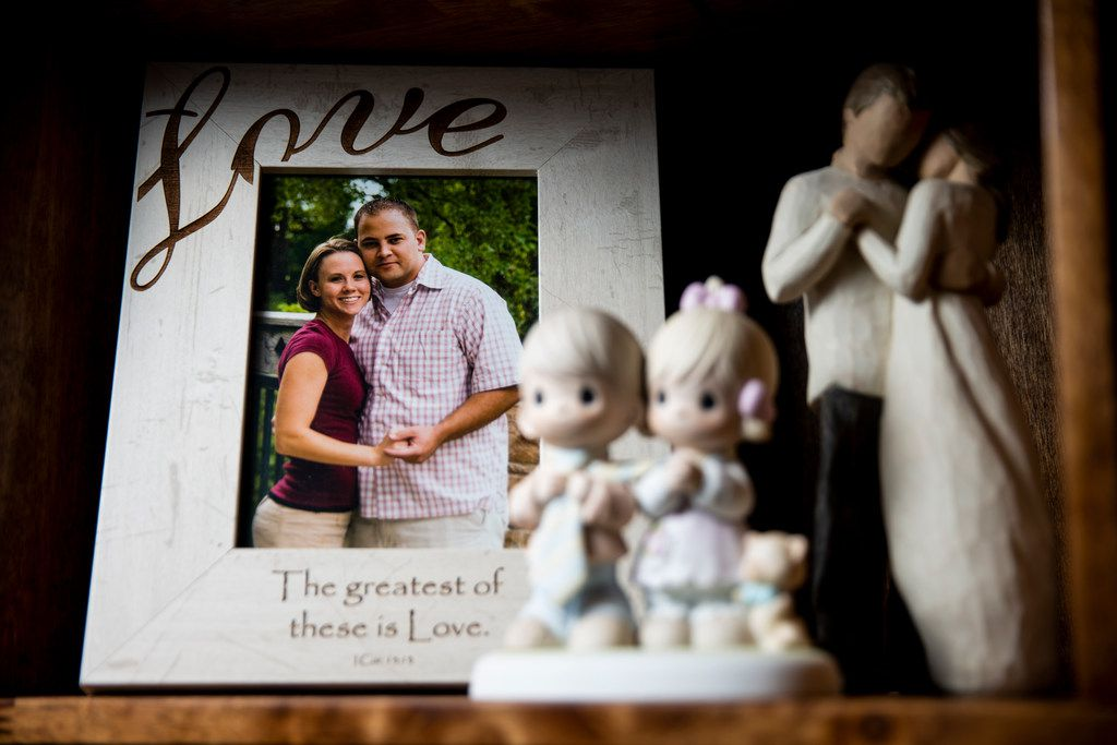 A photograph of Taylor Siler and her husband, Clint Siler, sits on a shelf in their Wylie home.