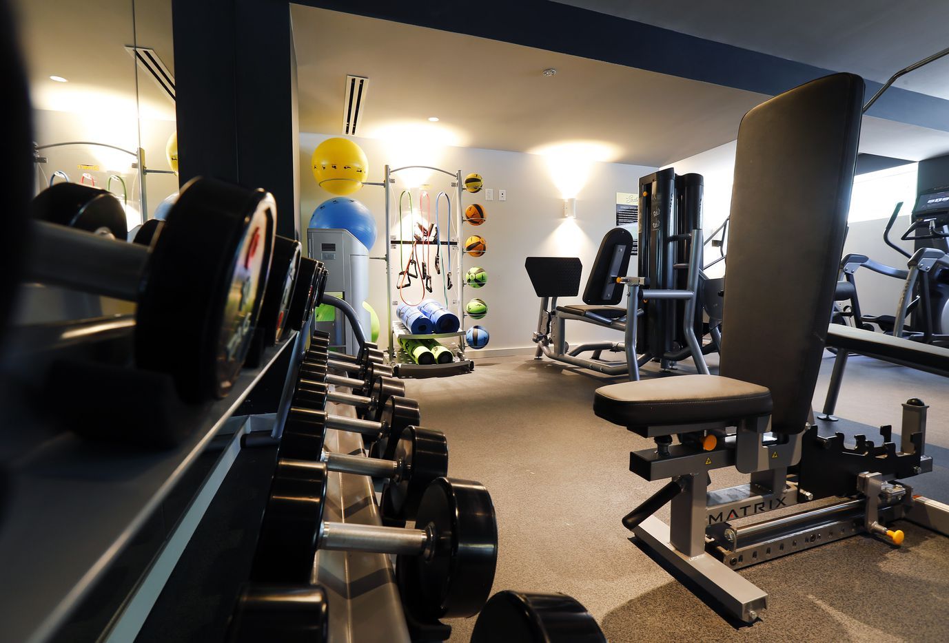 The residence workout room is pictured on the first floor of the Statler Residences in downtown Dallas.