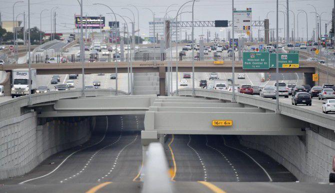 Estas son los carriles de paga en la Interestatal 635 de Dallas (LBJ Freeway) que abrirán a partir del jueves. (DMN/MICHAEL AINSWORTH)