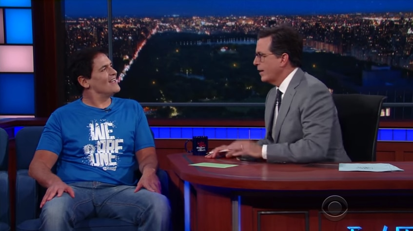 Mark Cuban speaks with Stephen Colbert on The Late Show