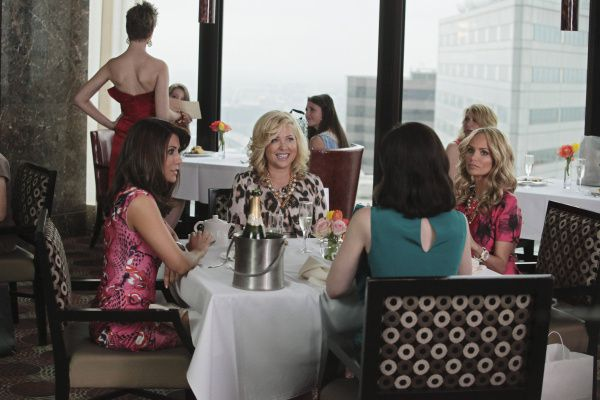 This scene in the GCB pilot episode was shot in Thanksgiving Tower (1601 Elm Street),with the downtown Dallas skyline in the background.  MARISOL NICHOLS, JENNIFER ASPEN, MIRIAM SHOR, KRISTIN CHENOWETH