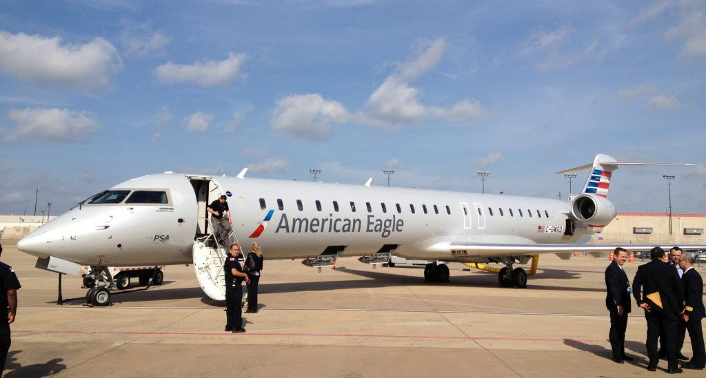 American Airlines Group Inc. shows off new Bombardier CRJ900 NextGen planes at the Dallas/Fort Worth International Airport.