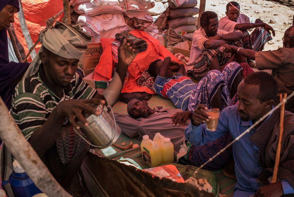 En febrero, breves lluvias trajeron a unas 100.000 personas a una región de Somalia  en busca de tierra para su ganado, Los pastos estuvieron muy limitados que hubo muertes masivas de animales y un creciente número de campamentos de desplazados. (AP)