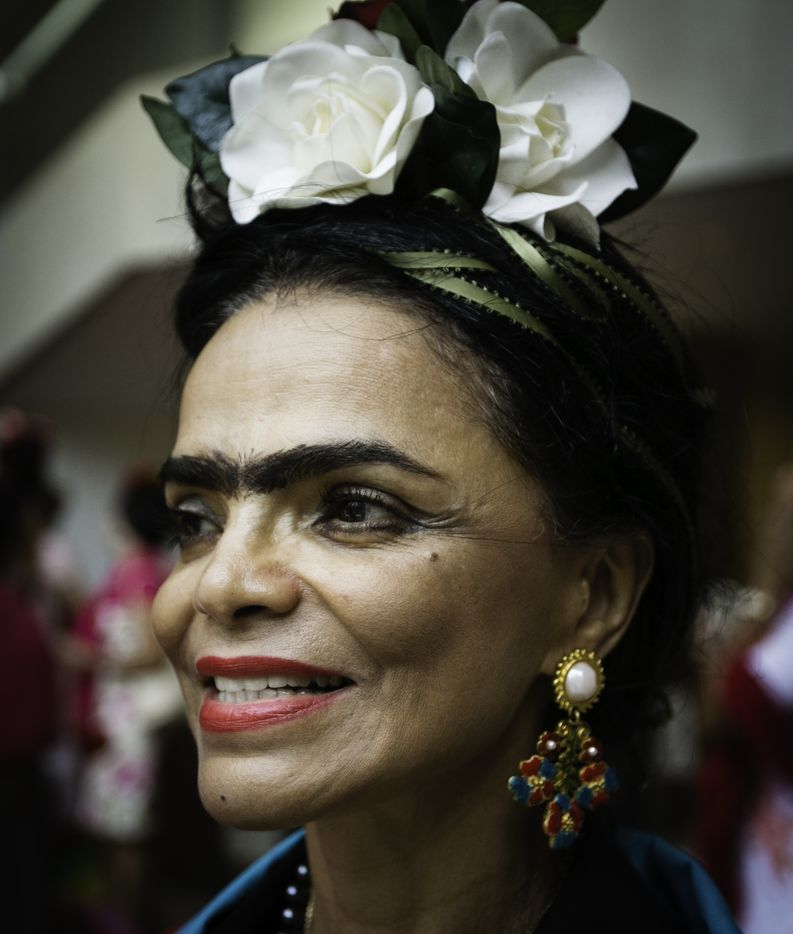Vera Orozco attends the Dallas Museum of Art event, which aims to set a world record of the largest gathering of Frida Kahlo look-alikes.