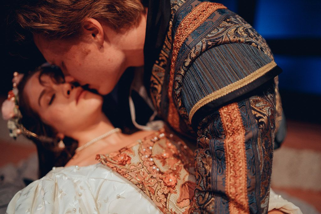 Quinn Moran plays Romeo and Carly Wheeler plays Juliet in 'Romeo and Juliet,' which will be presented in repertory with Twelfth Night in Trinity Shakespeare Festival's 10th season on the Texas Christian University campus in Fort Worth June 19 to July 8.
