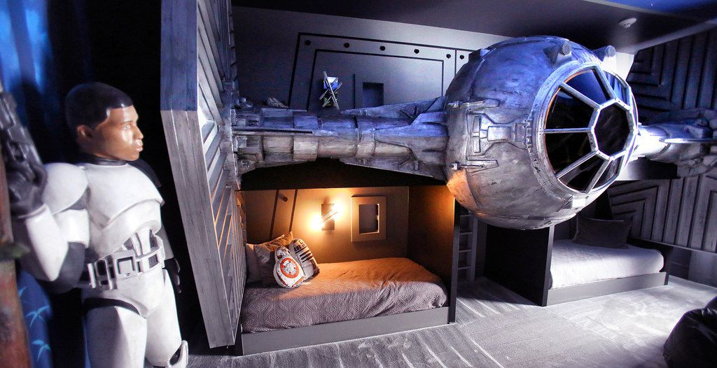 Kids can sleep under a TIE fighter in this vacation rental.