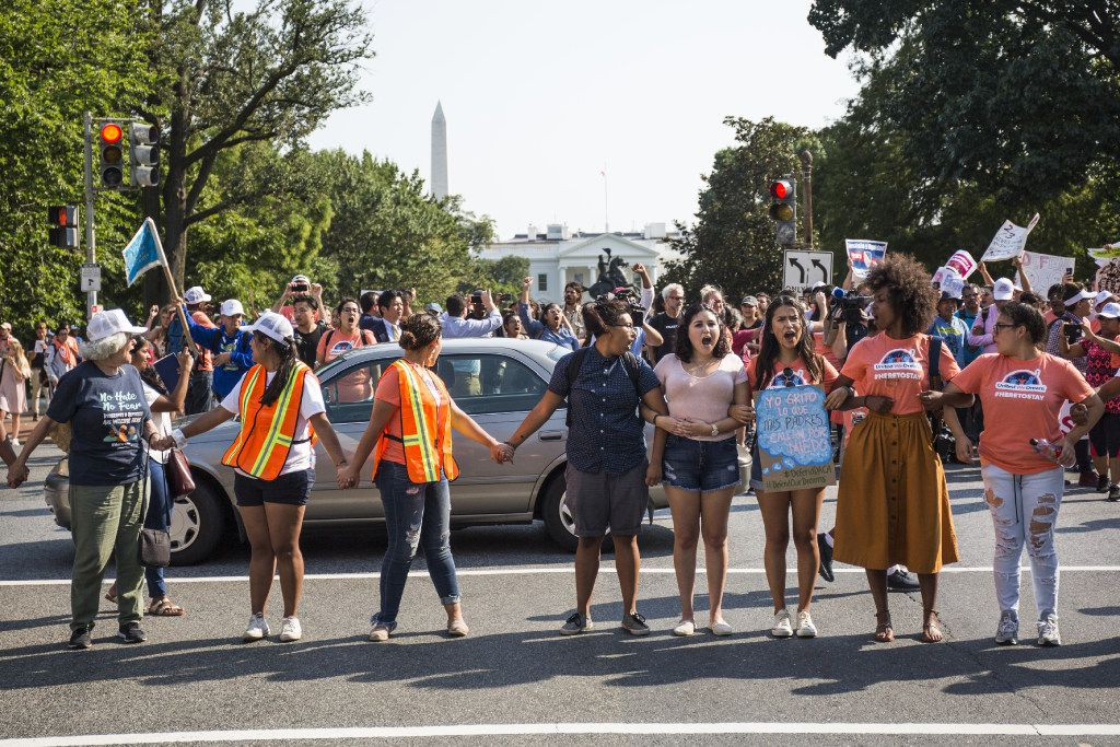Demonstrators blocked traffic this week on H Street in Washington, D.C., during a rally in support of Deferred Action for Childhood Arrivals (DACA), after the Trump administration announced its plan to end the program.