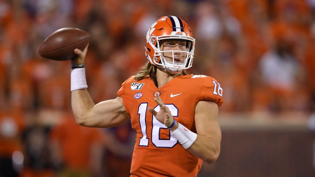 Clemson quarterback Trevor Lawrence throws a pass during an NCAA football game on Thursday, Aug. 29, 2019 in Clemson, S.C.
