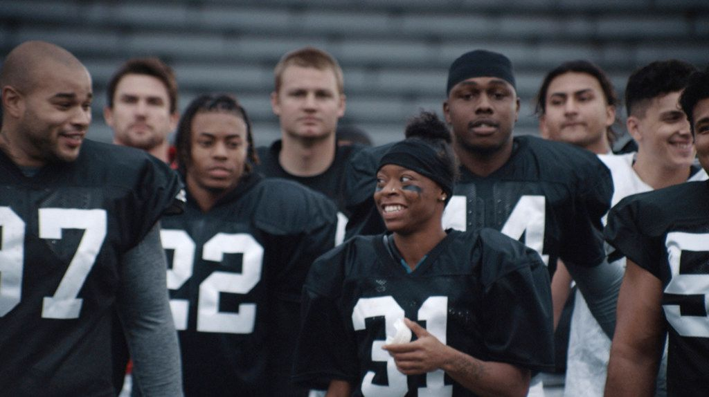"Toyota's ad features Antoinette Antoinette ""Toni"" Harris, a female football player at a California community college."