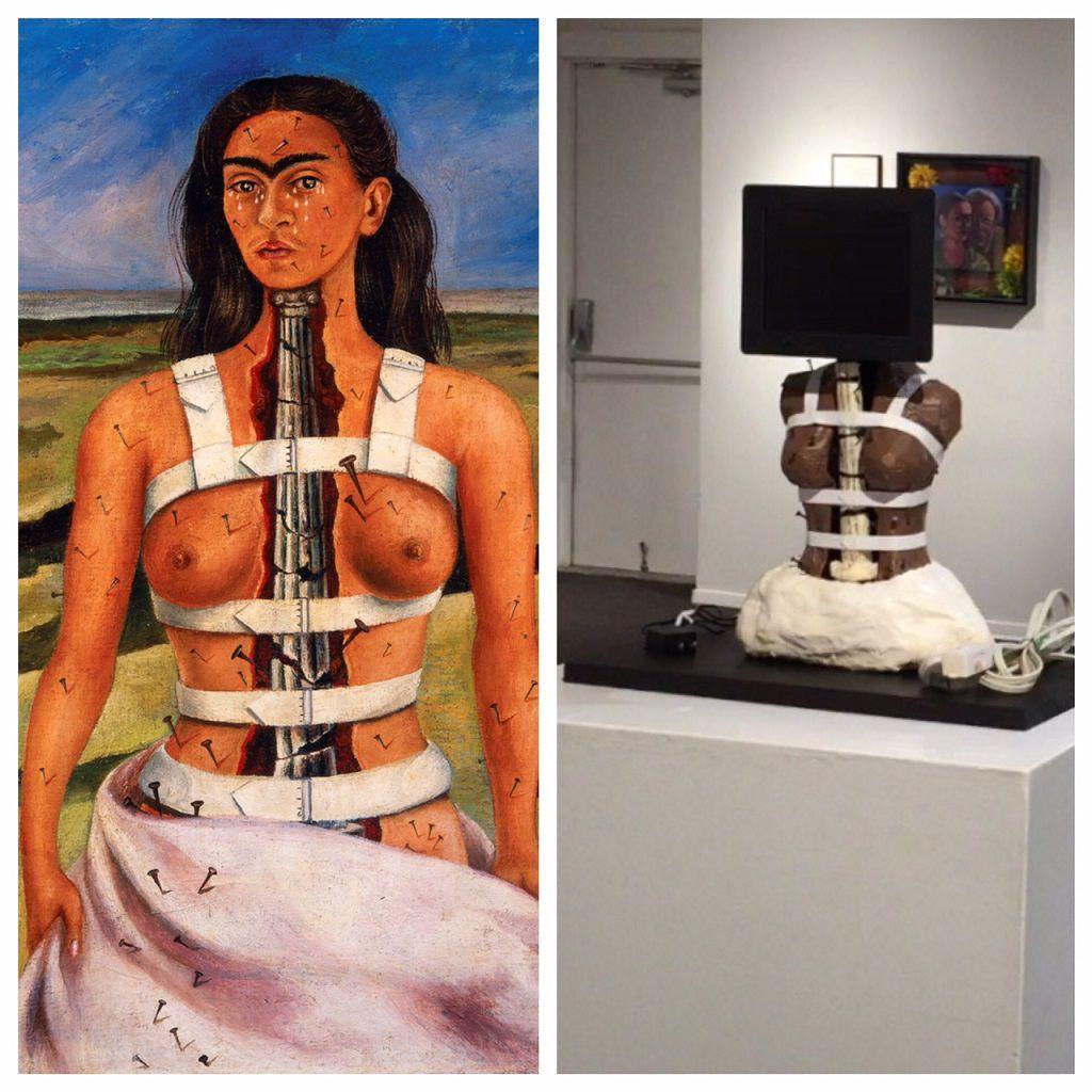 """A la izquierda, la obra de Kahlo, """"La columna rota"""". A la derecha, la obra """"Todas somos Frida"""" expuesta en el Bath House."""
