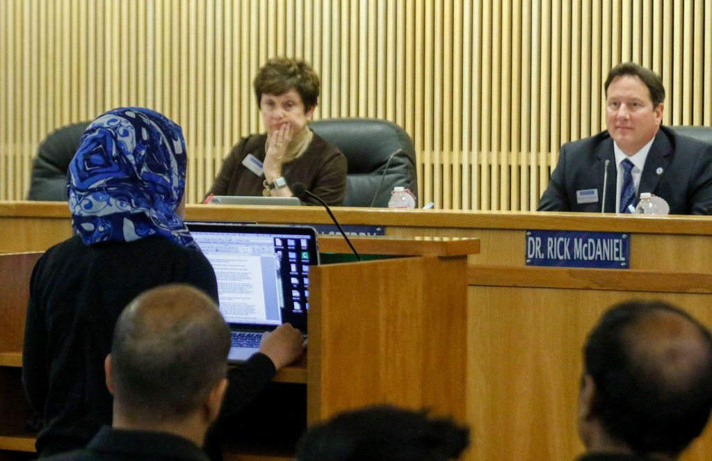 McKinney ISD school board member Lynn Sperry and Superintendent Rick McDaniel listened to Farah Uddin speak at the monthly school board meeting on Jan. 23.