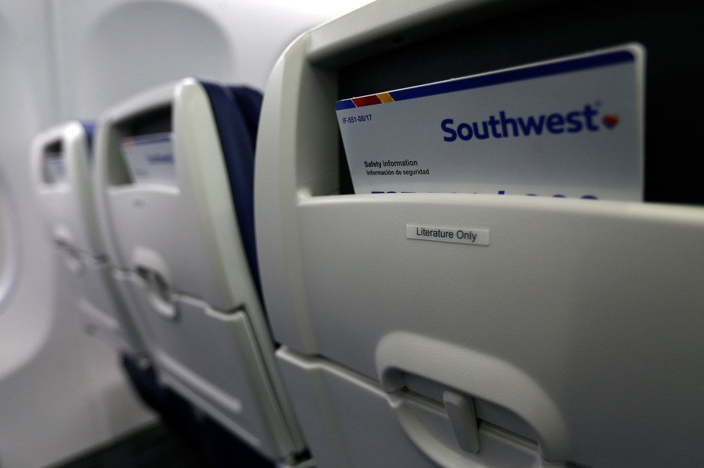 The back of the seats inside Southwest Airlines' new plane, the 737 Max, at headquarters in Dallas, Tuesday, Sept. 12, 2017. (Jae S. Lee/The Dallas Morning News)