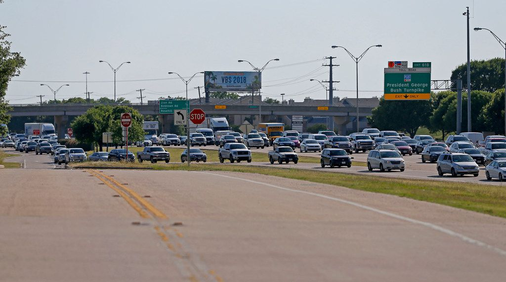 Evening traffic on I-30 eastbound near Bass Pro Drive is seen from the eastbound frontage road in Rowlett, Texas, Thursday, May 31, 2018.
