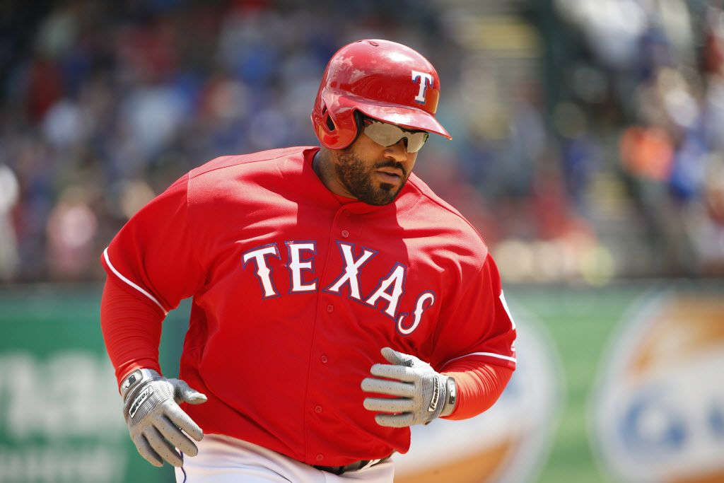 Texas Rangers designated hitter Prince Fielder (84) runs the bases after a home run against the Houston Astros in the fourth inning during their game at Globe Life Park in Arlington, Texas Thursday June 9, 2016.  (Nathan Hunsinger/The Dallas Morning News)