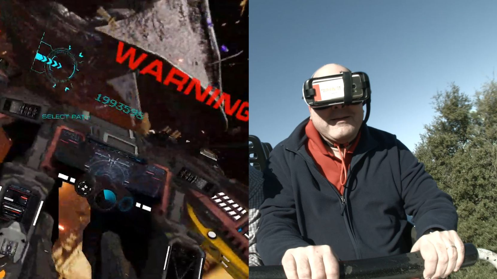 Jim Rossman rides the Galactic Attack VR coaster at Six Flags Over Texas in Arlington, Texas. In this split screen, what Jim sees through the VR goggles is on the left. (Six Flags Over Texas)