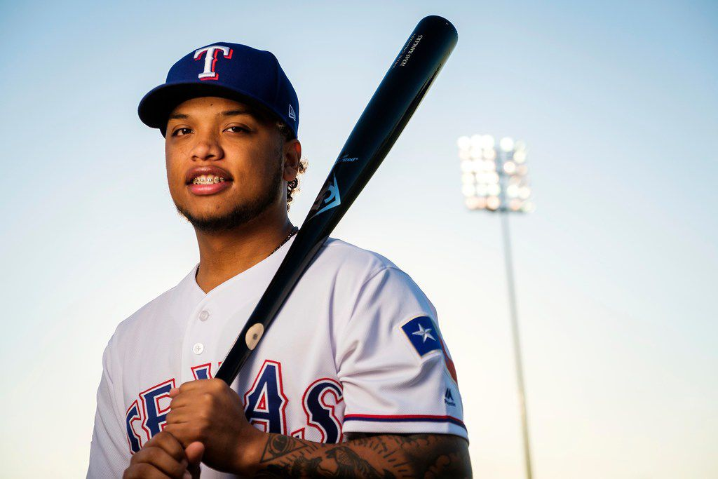 Texas Rangers outfielder Willie Calhoun poses for a photograph during spring training photo day at the team's training facility on Wednesday, Feb. 20, 2019, in Surprise, Ariz.. (Smiley N. Pool/The Dallas Morning News)